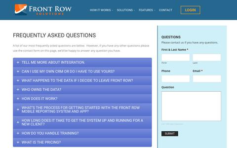 Screenshot of FAQ Page frontrowsolutions.com - FAQ - Front Row Solutions | Mobile Forms Paperless Solutions - captured Oct. 14, 2017