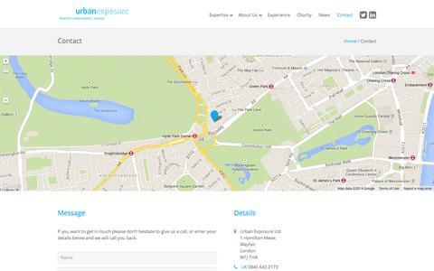 Screenshot of Contact Page urbanexposureuk.com - Contact - Urban Exposure - captured Oct. 7, 2014