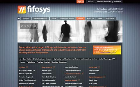 Screenshot of Case Studies Page fifosys.com - Clients   fifosys - captured Sept. 30, 2014