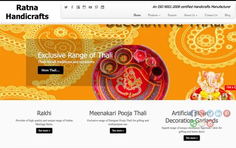 Screenshot of Home Page ratnahandicrafts.com - Ratna Handicrafts - Provider of a wide range of Indian Products - captured Aug. 16, 2015