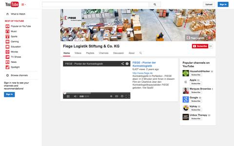 Screenshot of YouTube Page youtube.com - Fiege Logistik Stiftung & Co. KG  - YouTube - captured Oct. 26, 2014