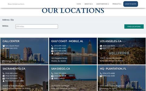 Screenshot of Locations Page bassuw.com - Bass Underwriters - captured July 12, 2019