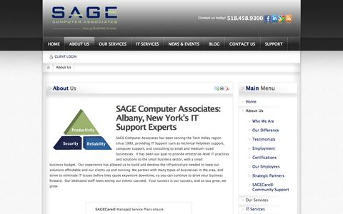 Screenshot of About Page sagecomputer.com - About Us | SAGE Computer Associates - captured Oct. 3, 2014