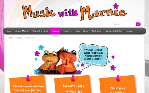 Screenshot of Testimonials Page musicwithmarnie.com - Testimonials for Children's Music Classes with Marnie Grey, Music with Marnie - captured Sept. 21, 2018
