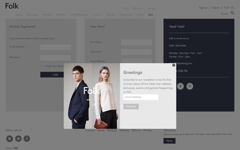 Screenshot of Login Page folkclothing.com - Create New Customer Account - Folk Clothing - captured Oct. 20, 2015