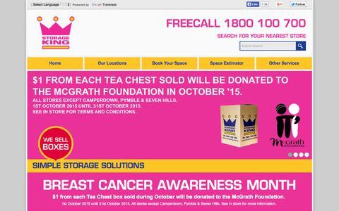 Screenshot of Home Page storageking.com.au - Storage King | Simple Storage Solutions - captured Oct. 1, 2015