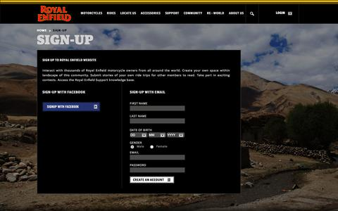 Screenshot of Signup Page royalenfield.com - Sign Up - Royal Enfield - captured Sept. 18, 2014