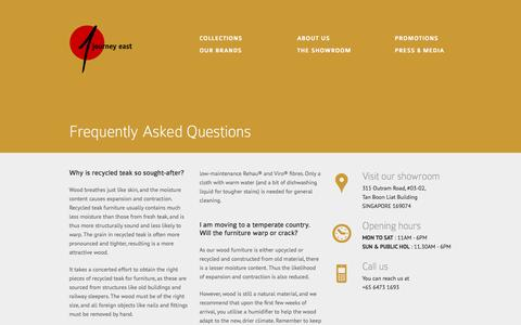 Screenshot of FAQ Page journeyeast.com - Journey East | Frequently Asked Questions - captured Sept. 30, 2014