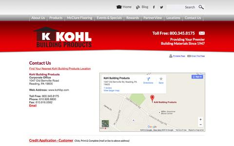 Screenshot of Contact Page kohlbp.com - Contact Us - Reading, Pennsylvania - Kohl Building Products - captured Feb. 12, 2016