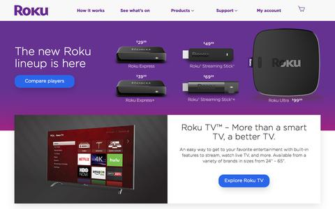 Screenshot of Home Page roku.com - Roku | Streaming TV & Media Player - captured Oct. 3, 2017