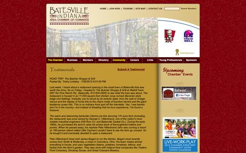 Screenshot of Testimonials Page batesvillein.com - Batesville, IN Chamber of Commerce - captured Feb. 7, 2016