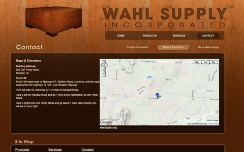 Screenshot of Contact Page Maps & Directions Page wahlsupply.com - Wahl Spply Inc. - captured Oct. 27, 2014