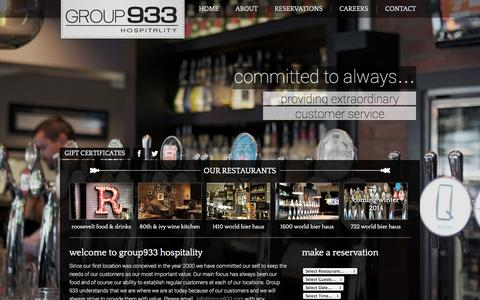 Screenshot of Home Page group933.com - Group 933 Hospitality | Calgary Alberta Hospitality GroupGroup 933 Hospitality | Calgary Alberta Hospitality Group - captured Oct. 3, 2014