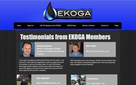 Screenshot of Testimonials Page ekoga.org - EKOGA - Eastern Kansas Oil and Gas Association | Testimonials - captured Oct. 20, 2016