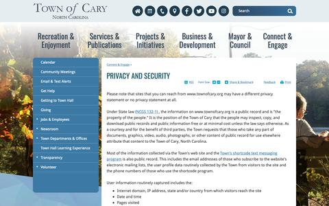 Screenshot of Privacy Page townofcary.org - Privacy and Security   Town of Cary - captured Oct. 19, 2018