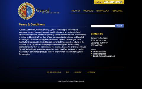 Screenshot of Terms Page gyrasoltech.com - Terms & Conditions | Gyrasol Technologies - captured Oct. 3, 2014