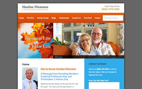 Screenshot of Home Page hnlawfirm.com - New Jersey Lawyers | Hanlon Niemann - captured Oct. 1, 2014