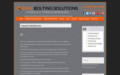 Screenshot of FAQ Page amgtorque.com - AMG Bolting Solutions: FAQ | Hydraulic Torque Wrenches - captured Oct. 4, 2014
