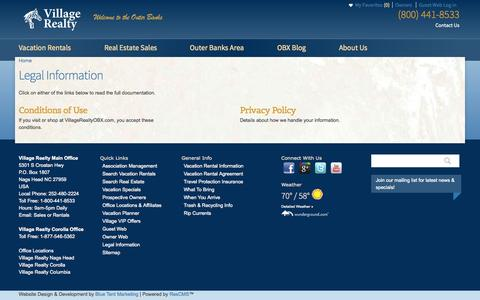 Screenshot of Terms Page villagerealtyobx.com - Legal Information | Village Realty - captured Oct. 26, 2014