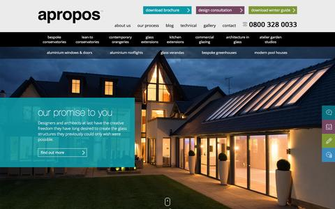 Screenshot of Home Page aproposconservatories.co.uk - Conservatories | Bespoke Orangeries Range | Apropos Conservatories - captured Feb. 6, 2016