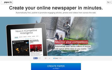 Screenshot of Home Page paper.li - Paper.li – Be a publisher - captured July 11, 2014