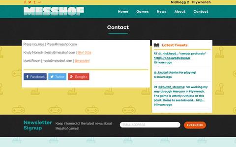 Screenshot of Contact Page messhof.com - Contact - Messhof - captured Nov. 28, 2016