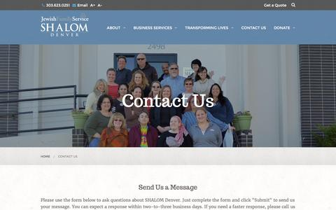 Screenshot of Contact Page shalomdenver.com - Contact Us - captured March 24, 2016