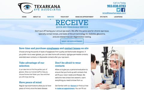 Screenshot of Services Page texarkanaeye.com - Vision Services | Eye examinations | Eyeglasses | TX - captured Dec. 16, 2016