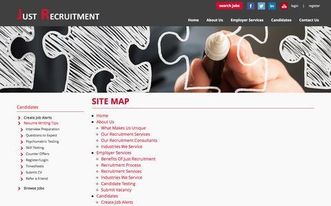 Screenshot of Site Map Page justrecruitment.com.au - Site Map  | Just Recruitment - South East Melbourne Recruitment Agency - captured Feb. 12, 2016
