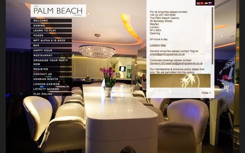 Screenshot of Contact Page thepalmbeach.co.uk - Contact The Most Exclusive Mayfair Casino | The Palm Beach - The Palm Beach - captured Oct. 6, 2014