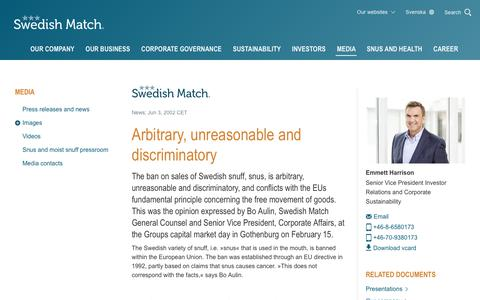 Screenshot of Press Page swedishmatch.com - Swedish Match - Arbitrary, unreasonable and discriminatory - captured Nov. 1, 2018