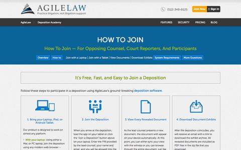 Screenshot of Signup Page agilelaw.com - How to Join -- For Opposing Counsel, Court Reporters, and Participants - captured Oct. 10, 2014