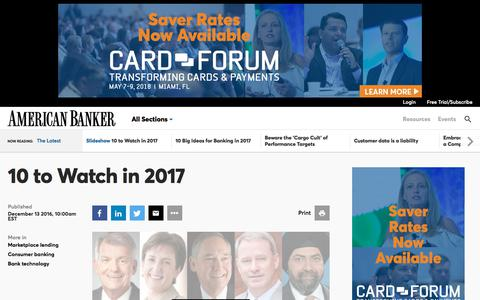 10 to Watch in 2017  | American Banker
