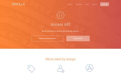 Screenshot of dwolla.com - Access API for Bank Transfers - Dwolla - captured Jan. 21, 2017