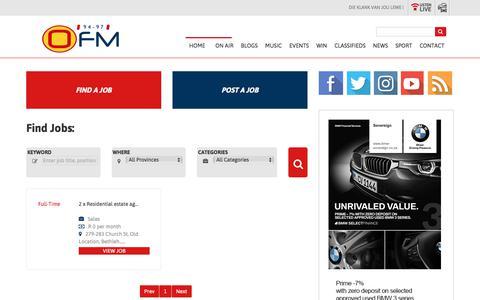 Screenshot of Jobs Page ofm.co.za - OFM | Jobs - captured Sept. 20, 2018
