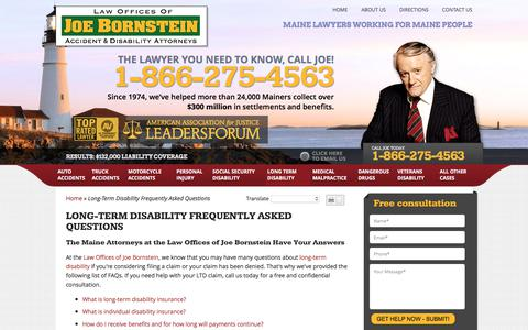 Screenshot of FAQ Page joebornstein.com - Long Term Disability FAQs : Law Offices of Joe Bornstein - captured Jan. 15, 2018