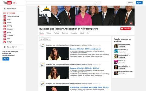 Screenshot of YouTube Page youtube.com - Business and Industry Association of New Hampshire  - YouTube - captured Oct. 23, 2014