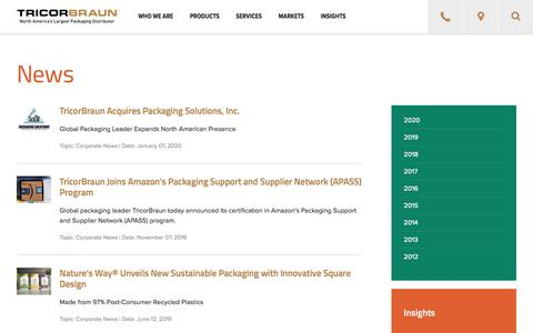 Screenshot of Press Page tricorbraun.com - Packaging News & Press Releases | TricorBraun - captured Jan. 9, 2020
