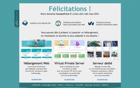 Screenshot of Home Page houseofvice.fr - Félicitations ! Votre domaine a bien été créé chez OVH ! - captured Sept. 12, 2019