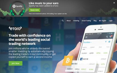 Screenshot of Home Page etoro.com - eToro - The World's Leading Social Trading and Investing Network - captured April 10, 2018