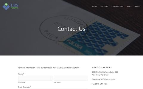 Screenshot of Contact Page lrsfederal.com - Contact — LRS Federal - captured Sept. 25, 2018