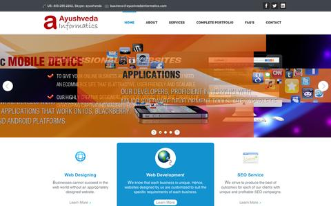 Screenshot of Home Page ayushvedainformatics.com - #1 Web Designing and SEO Firm. Professional SEO Services India, Web Development, Web Designing & Internet Marketing Company. - captured Sept. 19, 2014