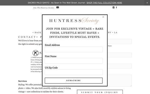 Screenshot of Contact Page huntressnewyork.com - Contact — H U N T R E S S - captured March 17, 2016
