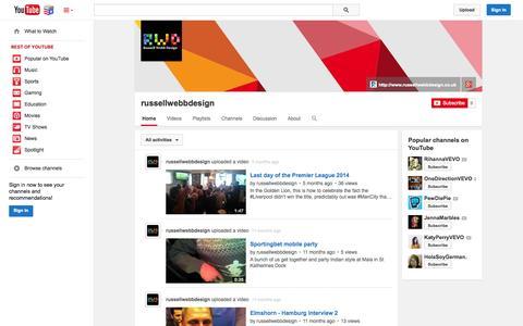 Screenshot of YouTube Page youtube.com - russellwebbdesign  - YouTube - captured Nov. 5, 2014