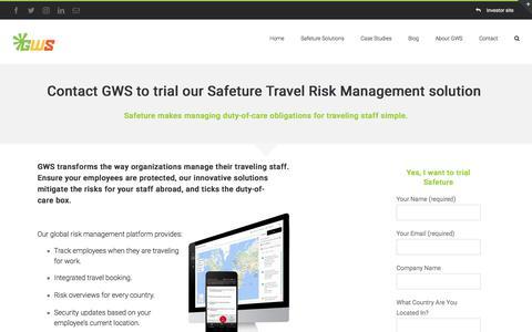 Screenshot of Trial Page globalwarningsystem.com - Trial Safeture Pro | Global Warning System | Travel Risk Management - captured July 13, 2017