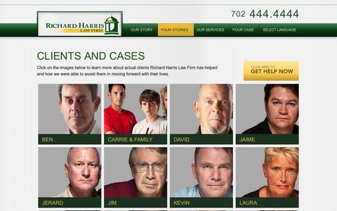 Screenshot of Testimonials Page richardharrislaw.com - Richard Harris Law Firm | Las Vegas & Henderson Nevada Personal Injury Attorneys - Client Stories - captured Oct. 9, 2014