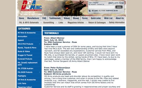 Screenshot of Testimonials Page dsarms.com - Testimonials - captured Sept. 22, 2014