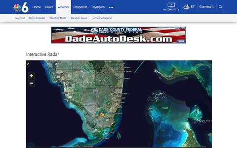 Screenshot of Maps & Directions Page nbcmiami.com - Miami Weather Maps and Interactive Weather Radar | NBC 6 South Florida - captured Aug. 22, 2016
