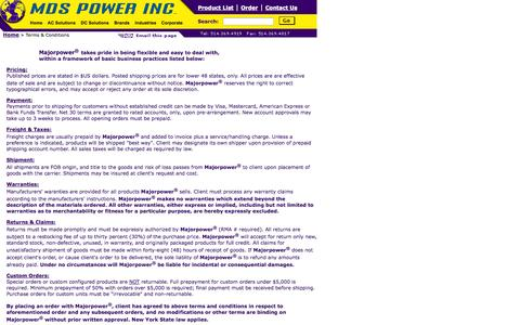 Screenshot of Terms Page mdspower.com - Majorpower Terms and Conditions - captured Oct. 4, 2014