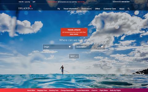 Screenshot of Home Page islandair.com - Island Air Hawaii | Interisland Flights | Hawaii Travel - captured Jan. 21, 2015
